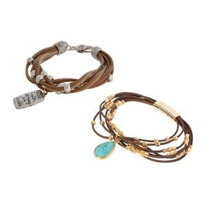 Jewelry - 2 Boho faux leather bracelets with charms
